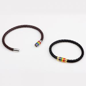 Hot Sale Rainbow Gay Pride Leather Bracelet For Men Women -