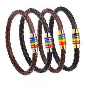 Hot Sale Rainbow Gay Pride Leather Bracelet For Men Women - BLACK A