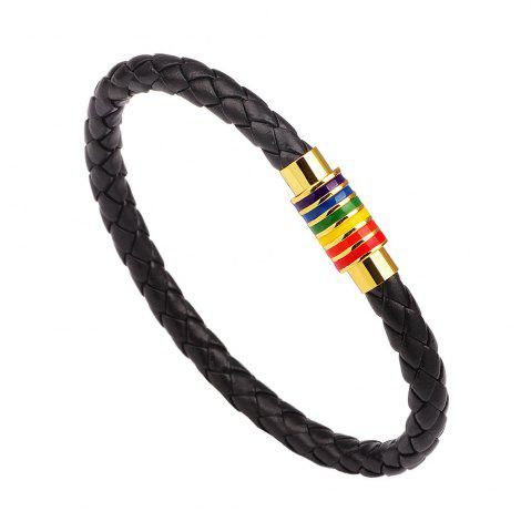 Outfits Hot Sale Rainbow Gay Pride Leather Bracelet For Men Women - BLACK B  Mobile