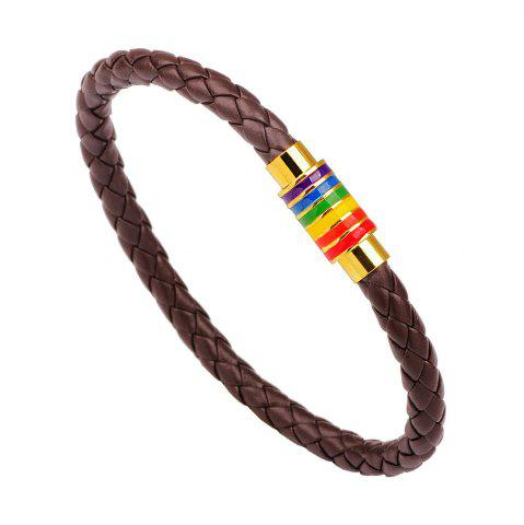 Store Hot Sale Rainbow Gay Pride Leather Bracelet For Men Women BROWN D STYLE