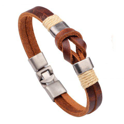 Sale High Quality Knot Leather Cuff Bracelet for Men Women - BROWN  Mobile