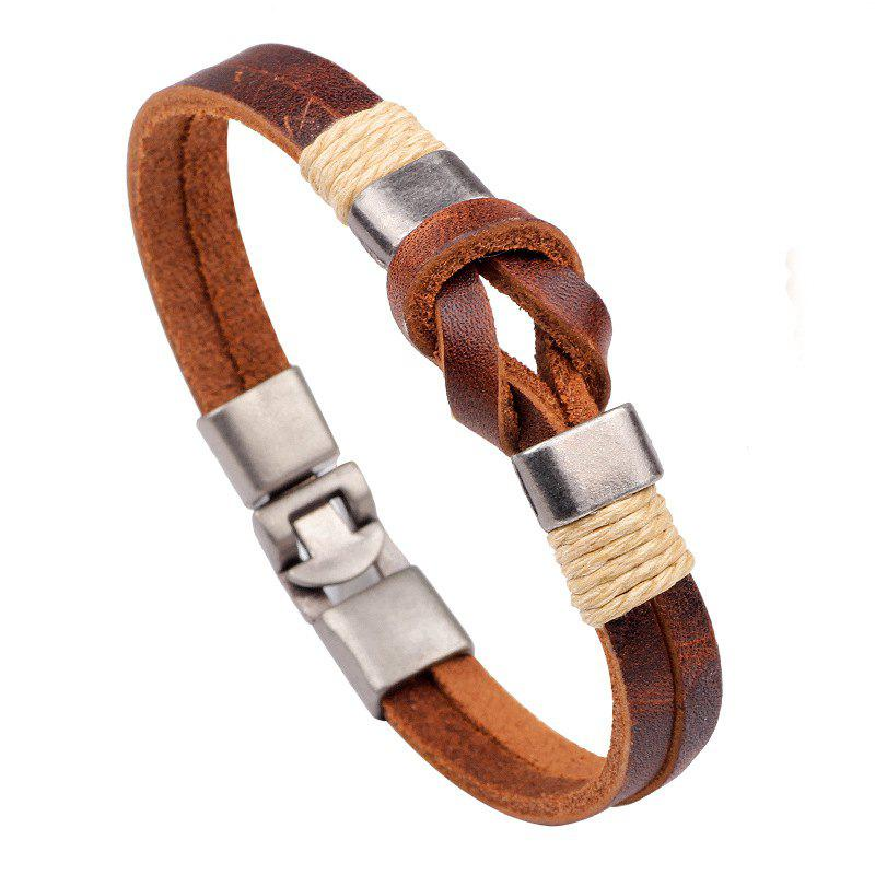 High Quality Knot Leather Cuff Bracelet for Men WomenJEWELRY<br><br>Color: BROWN; Item No.: QNW2221; Material: Leather , Zinc Alloy; Color: Brown; Style: Fashion;