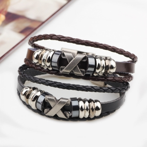 Fashion Alloy x Letter Braided Leather Cuff Bracelet for Men -