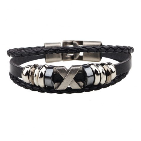 Trendy Fashion Alloy x Letter Braided Leather Cuff Bracelet for Men BROWN
