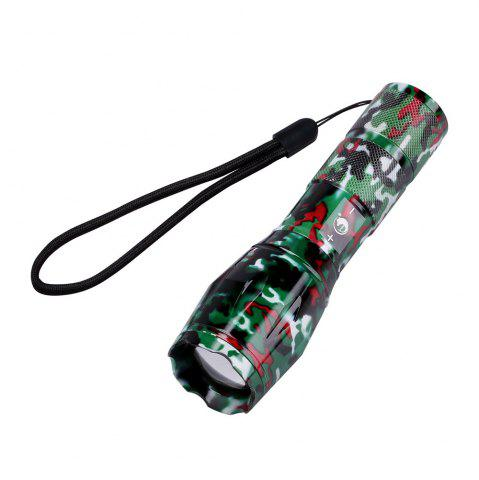 Best UKing Xml T6 1000LM 5 Mode Zoomable Camouflage Flashlight Torch RED WITH BLACK