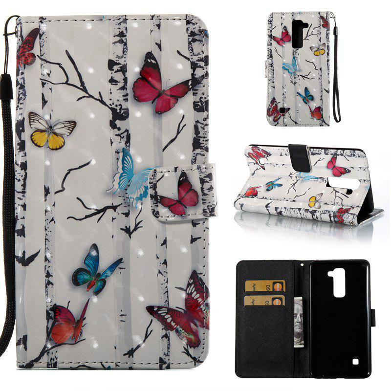 Cheap Butterflies 3D Painted Pu Phone Case for Lg Stylus2 Ls775