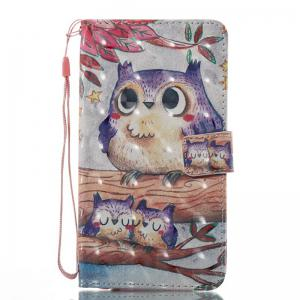 Purple Owl 3D Painted Pu Phone Case for Lg Stylus2 Ls775 -