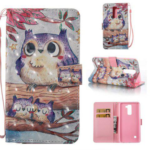 Affordable Purple Owl 3D Painted Pu Phone Case for Lg Stylus2 Ls775