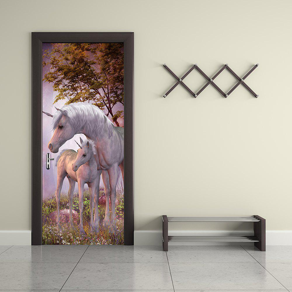 2018 Unicorn Animal Wall Stickers 3d Door Forest Landscape Wallpaper