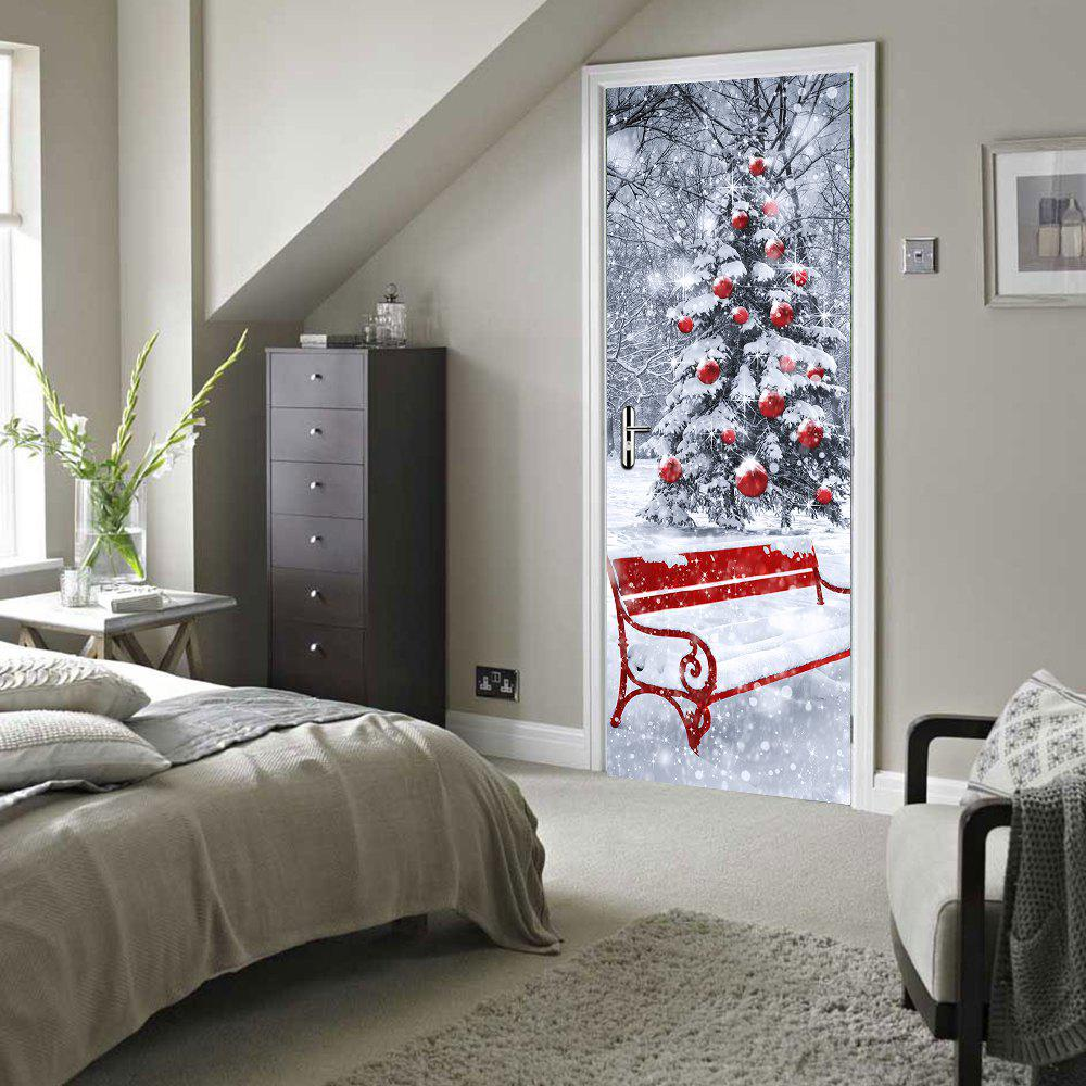 Imitation 3D Door Paste Christmas Tree Wall Stickers Wooden DoorHOME<br><br>Size: 77 X 200CM; Color: MIX COLOR;