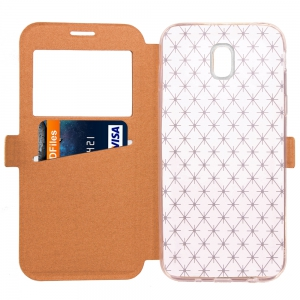 Yc Lingogwen Window Card Lanyard Pu Leather for Samsung J530 -