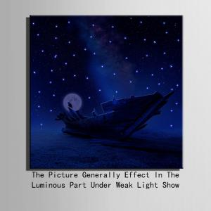 YC Stretched Flash LED Canvas Print Art Ship In The Sea Optical Fiber Painting -