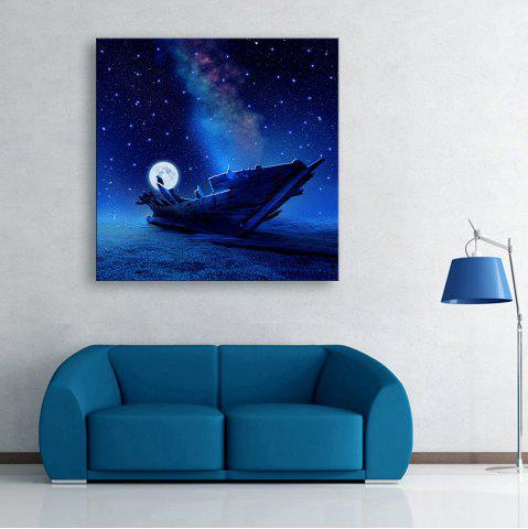 Sale YC Stretched Flash LED Canvas Print Art Ship In The Sea Optical Fiber Painting