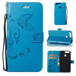 Wkae Flowers Embossing Pattern PU Leather Flip Stand Case Cover for Huawei Hornor V9 -