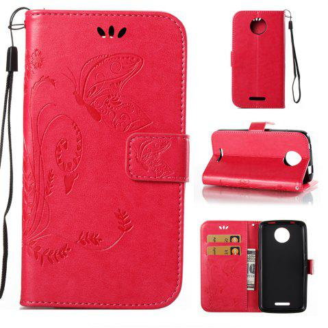 Hot Wkae Flowers Embossing Pattern PU Leather Flip Stand Case Cover for MOTO C MC