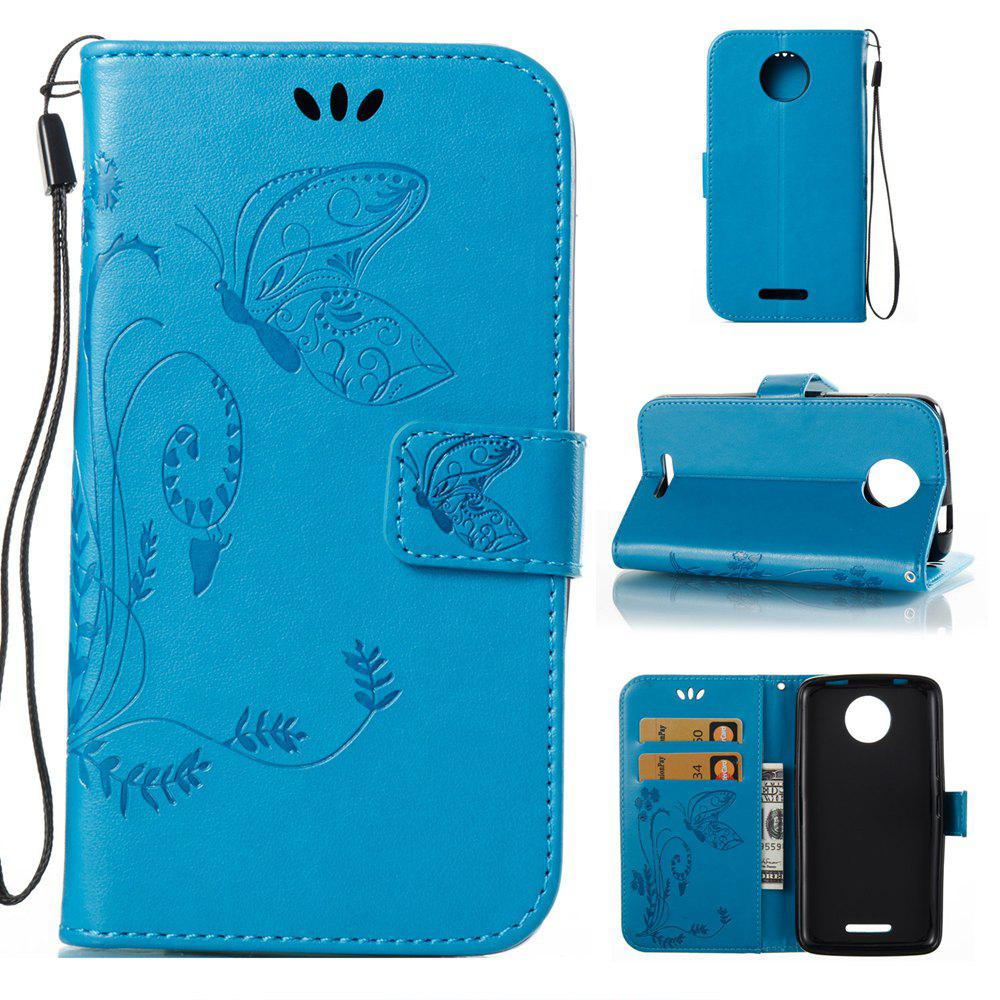 New Wkae Flowers Embossing Pattern PU Leather Flip Stand Case Cover for MOTO C MC