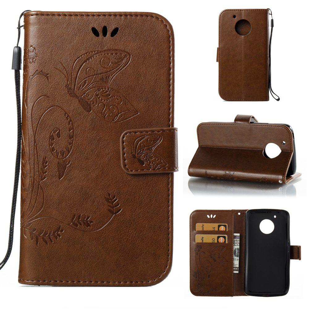 New Wkae Flowers Embossing Pattern PU Leather Flip Stand Case Cover for MOTO G5