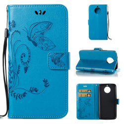 Wkae Flowers Embossing Pattern PU Leather Flip Stand Case Cover for MOTO G6 -