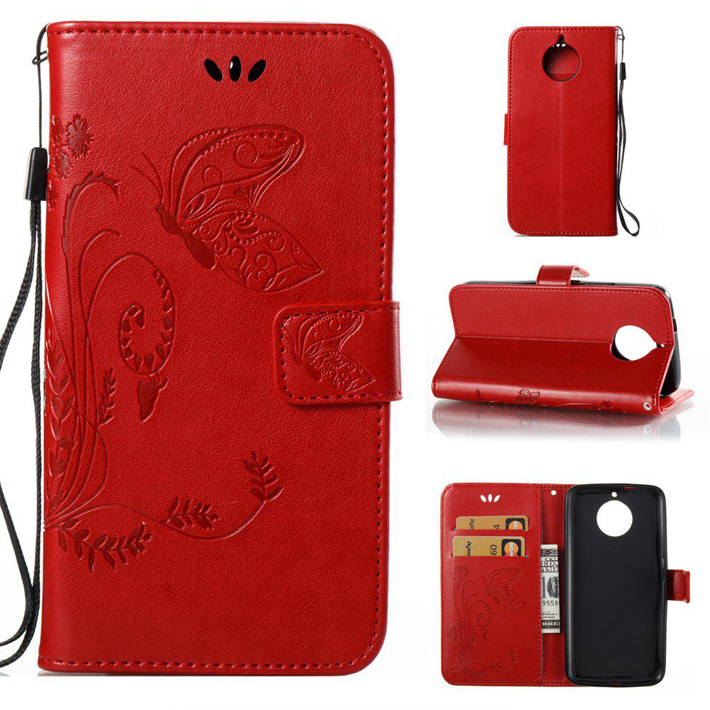 Latest Wkae Flowers Embossing Pattern PU Leather Flip Stand Case Cover for MOTO G6