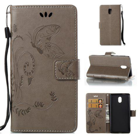 New Wkae Flowers Embossing Pattern Pu Leather Flip Stand Case Cover for Nokia 5 N5