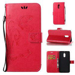 Wkae Flowers Embossing Pattern Pu Leather Flip Stand Case Cover for Nokia 6 N6 -