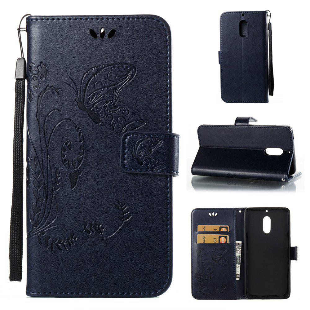 Unique Wkae Flowers Embossing Pattern Pu Leather Flip Stand Case Cover for Nokia 6 N6