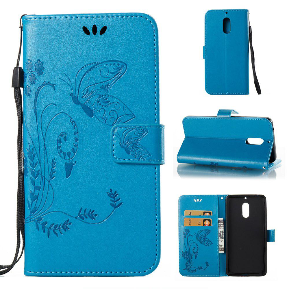 Fancy Wkae Flowers Embossing Pattern Pu Leather Flip Stand Case Cover for Nokia 6 N6