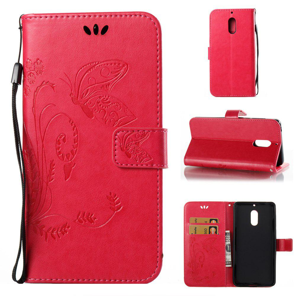 Shop Wkae Flowers Embossing Pattern Pu Leather Flip Stand Case Cover for Nokia 6 N6