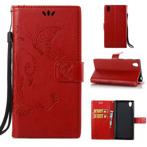 Affordable Wkae Flowers Embossing Pattern PU Leather Flip Stand Case Cover for Sony Xperia L1