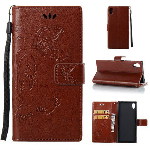 Wkae Flowers Embossing Pattern Housse en cuir PU Leather Housse pour Sony Xperia XA 2017