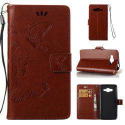 Wkae Flowers Embossing Pattern PU Leather Flip Stand Case Cover for Samsung Galaxy J2 Prime -