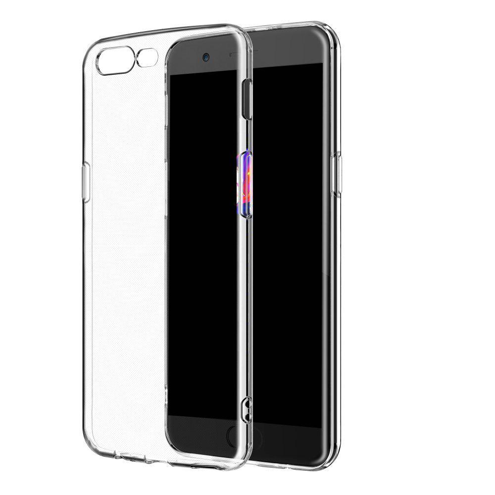 Ultrathin Shock-Absorption Bumper TPU Clear Case for One Plus 5HOME<br><br>Color: TRANSPARENT;