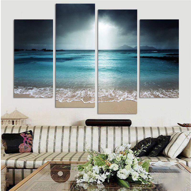 4PCS Ocean Printed Canvas Unframed Wall Art