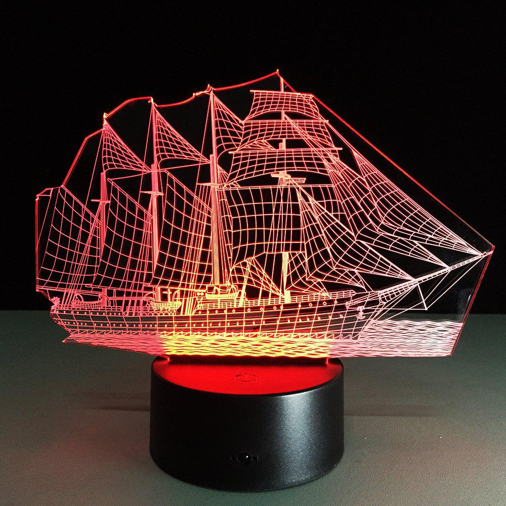 Yeduo Creative 3D LED Night Light Acrylic Sailing Boat Shape Discoloration LampHOME<br><br>Color: COLORMIX;