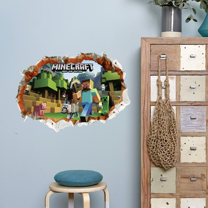 3D Hole Style Game World Wall StickerHOME<br><br>Size: 50 X 70CM; Color: MIX COLOR;