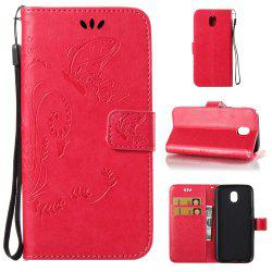 Wkae Flowers Embossing Pattern PU Leather Flip Stand Case Cover for Samsung Galaxy J3 2017 European Edition -