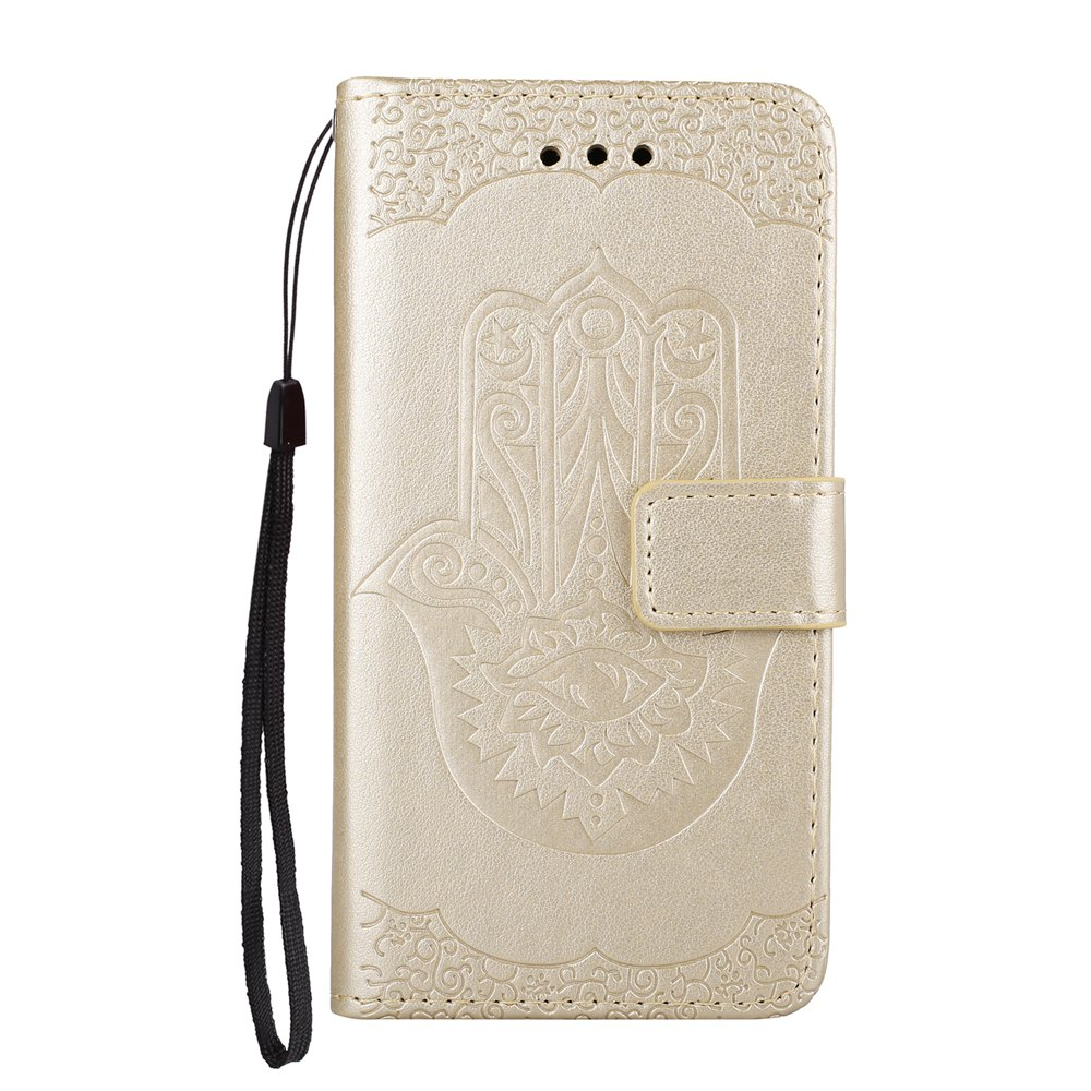 Wkae Embossed Leather Case Cover with Insertion Slots et Kickstand pour Huawei Hornor 8