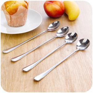 2PCS Double Metal Stir Spoon for Coffee Salad Dinner -