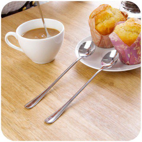 Trendy 2PCS Double Metal Stir Spoon for Coffee Salad Dinner