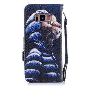 Color Pattern Flip PU Leather Wallet Case with Sling for Samsung Galaxy S8 -