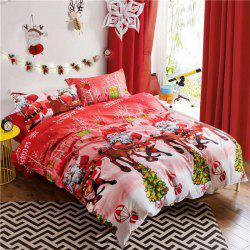 Mingjie Imitation Cotton Bedding Set for Queen Size - RED WITH WHITE QUEEN