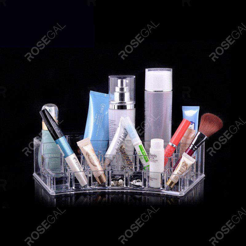 Transparence Multiple Square Lattice Desktop Makeup Case Storage BoxHOME<br><br>Color: CLEAR WHITE;