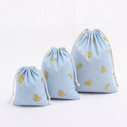 3PCS Fresh Banana Printed Cotton Flax Tea Bag Storage Pouch -