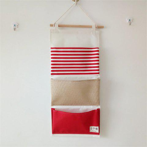 Affordable Multi-Functional Stripes Three Lattice Storage Hang Bags - RED WITH WHITE  Mobile