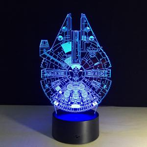 Yeduo New 3D Battleship Spacecraft Led Illusion Mood Lamp Bedroom Table Lamp Night Light Bulbing Child Kids Friends Man Family Gifts -