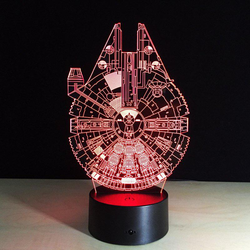 Yeduo New 3D Battleship Spacecraft Led Illusion Mood Lamp Bedroom Table Lamp Night Light Bulbing Child Kids Friends Man Family GiftsHOME<br><br>Color: COLORMIX;