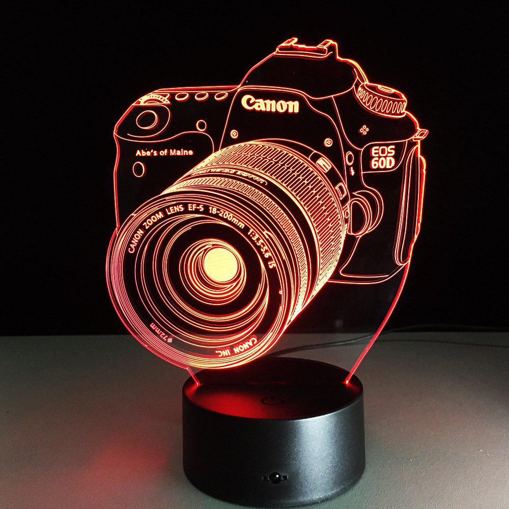 Yeduo Novelty 3D Acrylic Entertainment Camera Illusion Led Lamp Usb Table Light Rgb Night Light Romantic Bedside Decortion LampHOME<br><br>Color: COLORMIX;