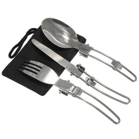 Sale 3 Pcs Portable Outdoor Camping Travel Picnic Foldable Stainless Steel Cutlery Spoon Fork Knife Tableware