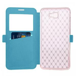Yc Lingogwen Window Card Lanyard Pu Leather pour Samsung J7 Prime -