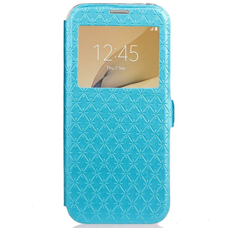 Yc Lingogwen Window Card Lanyard Pu Leather pour Samsung J7 Prime